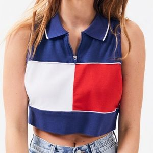Tommy Hilfiger colorblock cropped polo top NWT